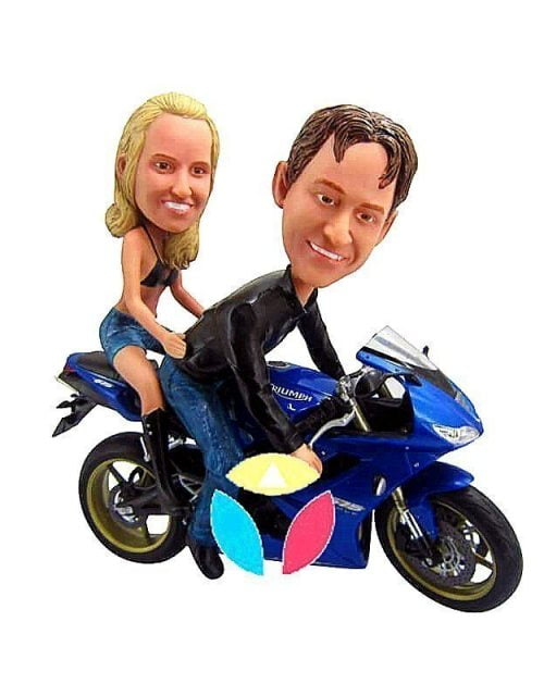 Personalized Couples On Motorcycle Bobbleheads