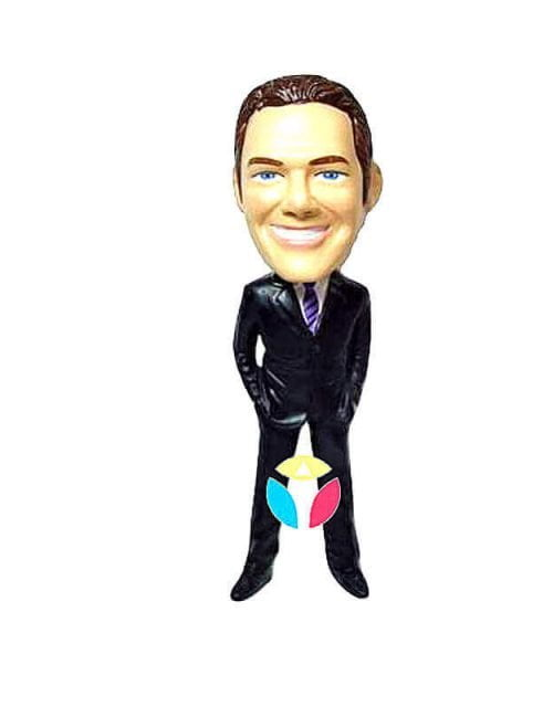 Personalized Hands In Pockets Suit Wearing Man bobblehead Doll