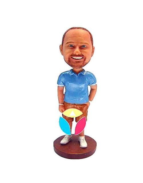 Polo Shirt Tucked In Shorts Bobble Head