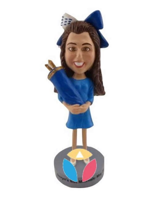 Religious Bar Mitzvah Girl Personalized Bobblehead