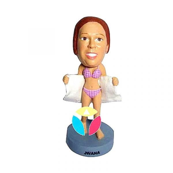 Woman With Swimsuit And Towel Custom Bobblehead Doll