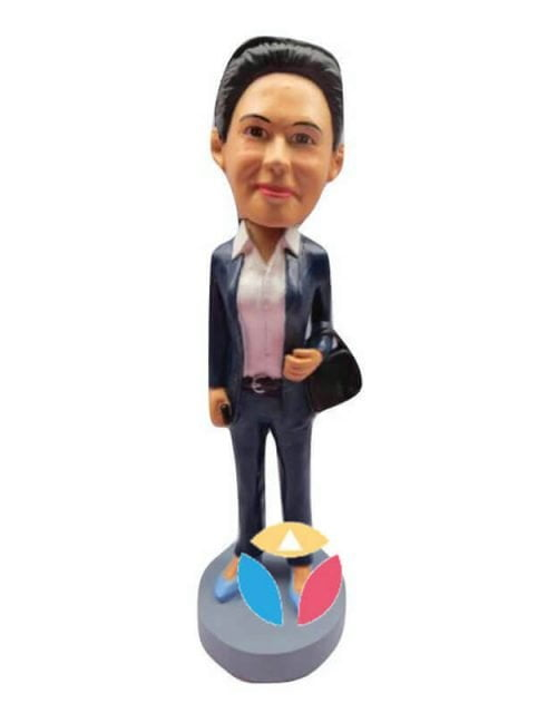 Businesswoman With Briefcase Custom Bobblehead Doll