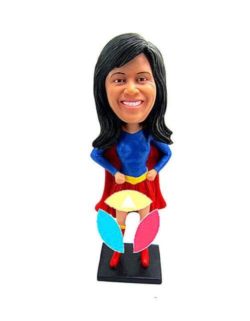 Female Arms Akimbo Superman Custom Bobblehead