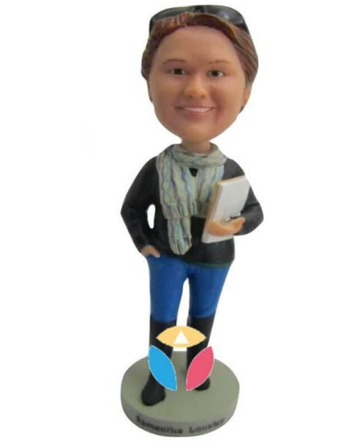 Holding Books With Jeans Bobblehead
