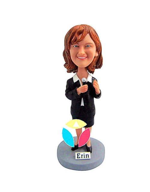 Holding Microphone In Skirt Bobblehead